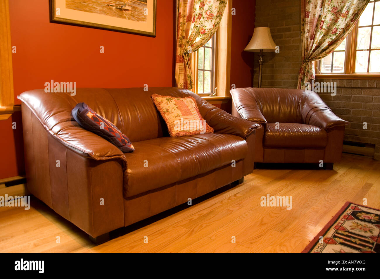 warm living room furnitures and decor in Quebec, Canada - Stock Image