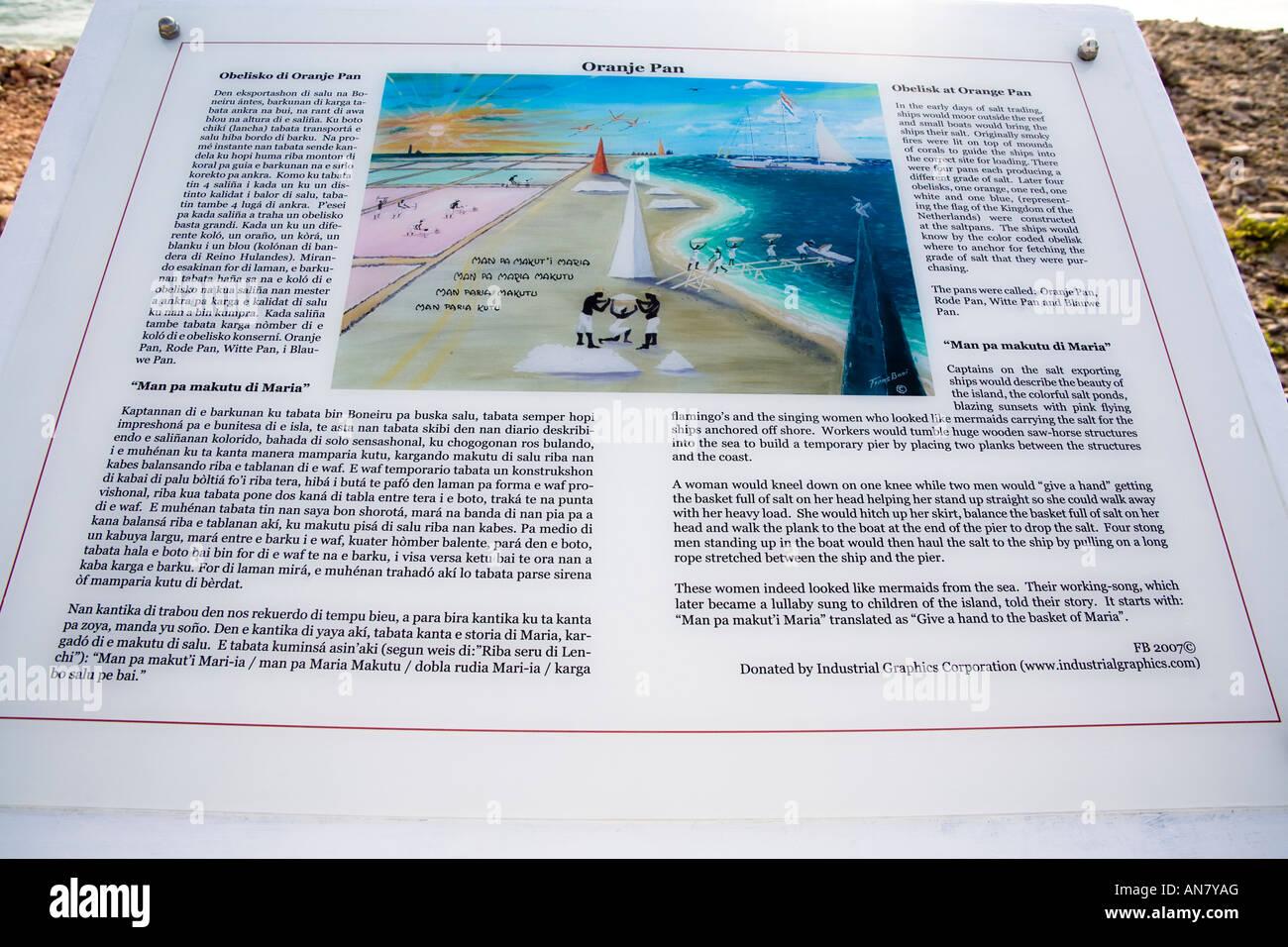 Interpretation Board at Oranje Pan on the Caribbean Island of Bonaire - Stock Image