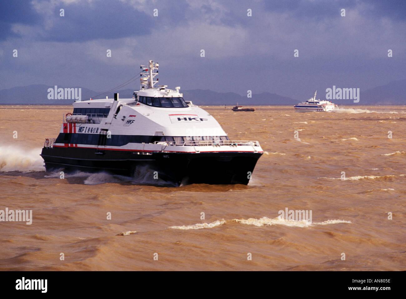 Macau, Turbo ferry approaching Macau from Hong Kong - Stock Image