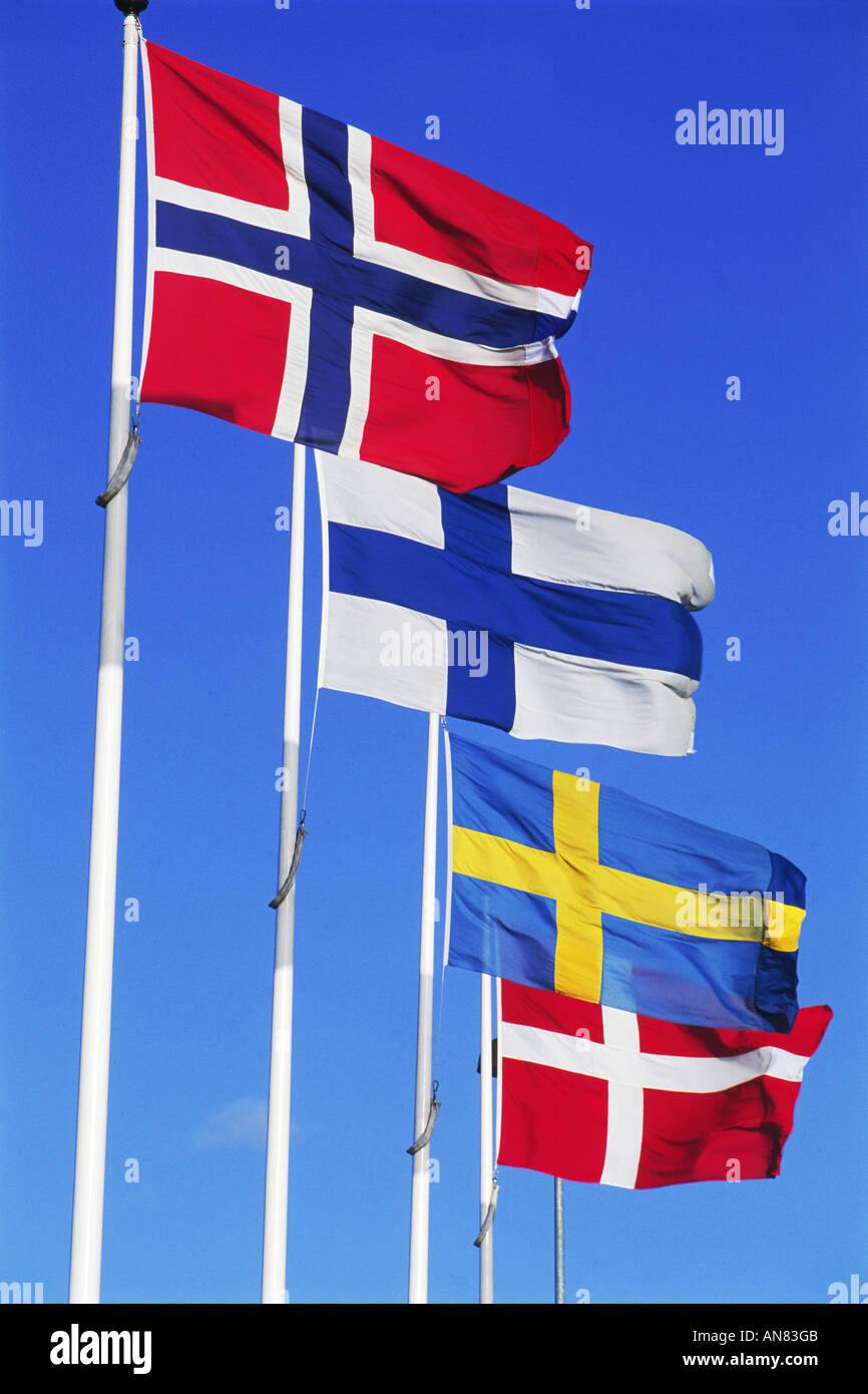 Flags from the four Scandinavian countries - Norway, Finland, Sweden and Denmark Stock Photo