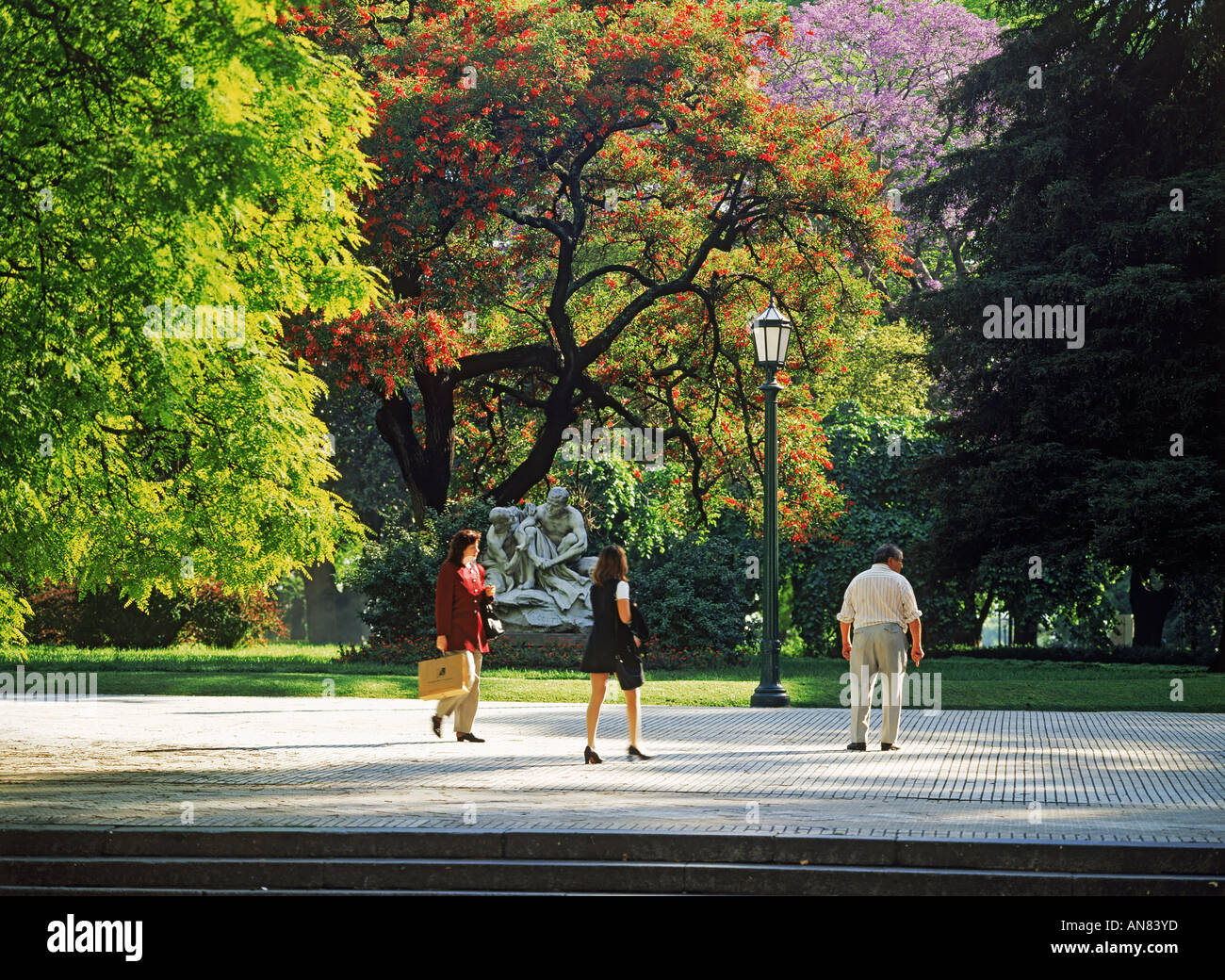 People in Plaza San Martin in central Buenos Aires - Stock Image