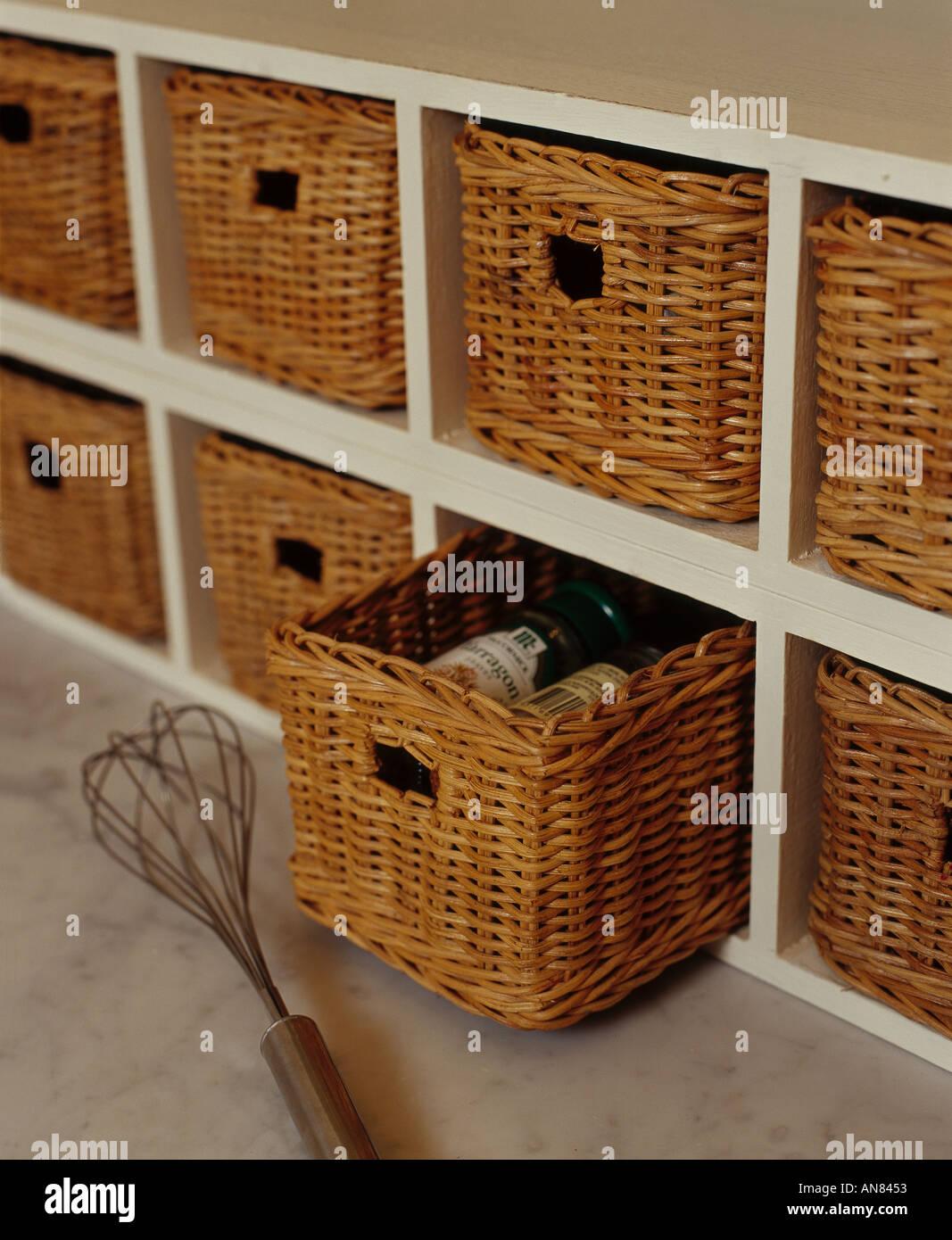 Wicker kitchen storage baskets Stock Photo: 1410130 - Alamy