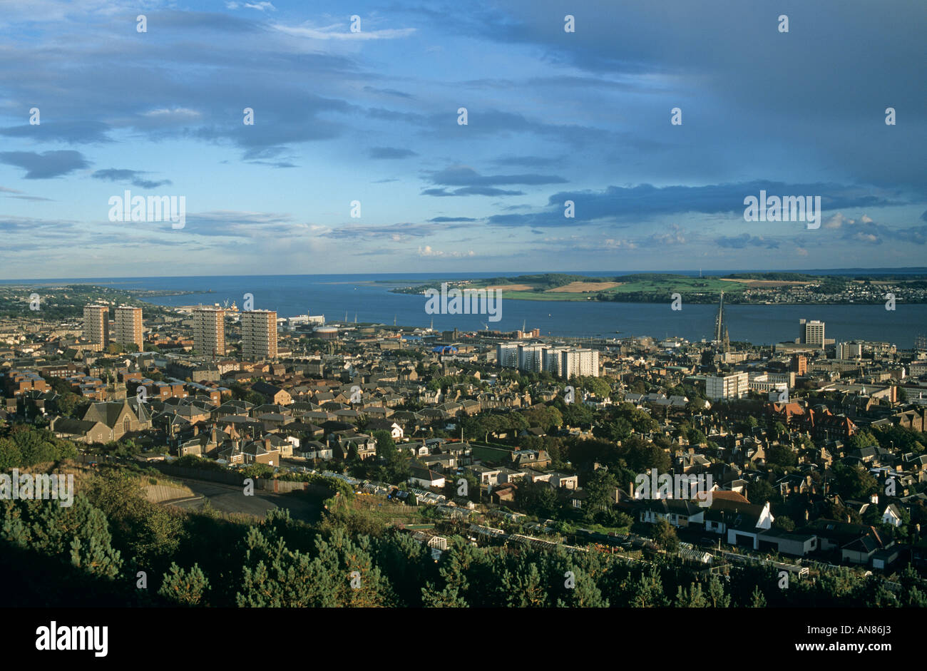 Dundee View of Dundee City Centre and the River Tay from the Law Hill - Stock Image