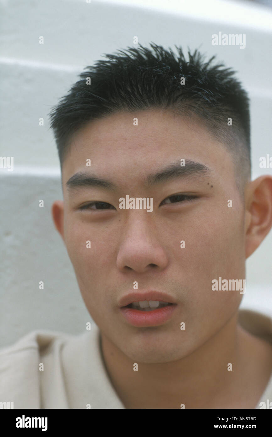 Portrait 17 Year Old Asian American Male Stock Photo