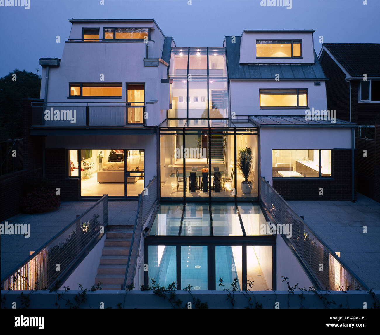 Modern House with basement pool Hampstead Exterior View Rear