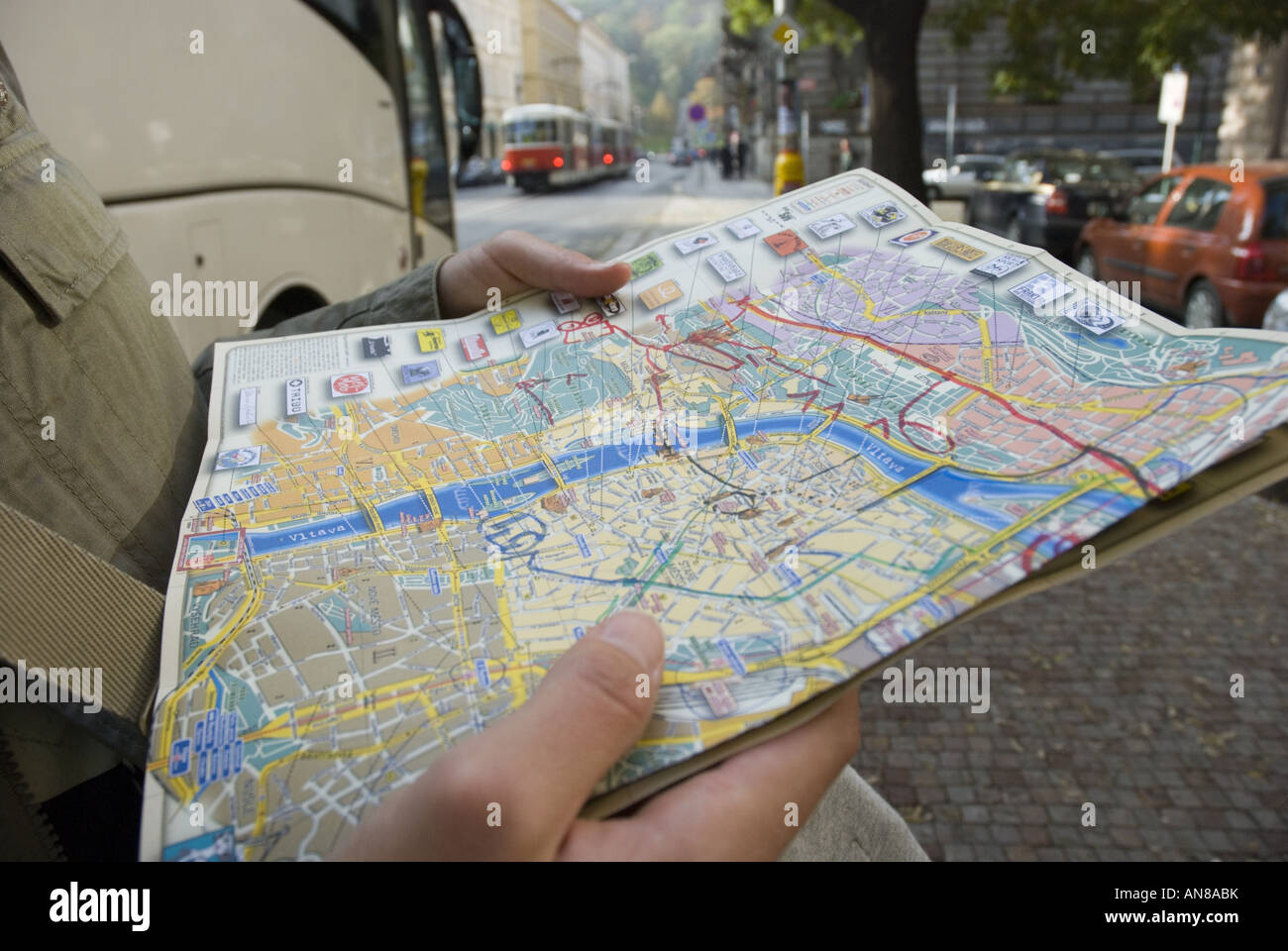 Map legend key stock photos map legend key stock images alamy consulting a city map with marked tram routes in prague czech republic stock image gumiabroncs Choice Image