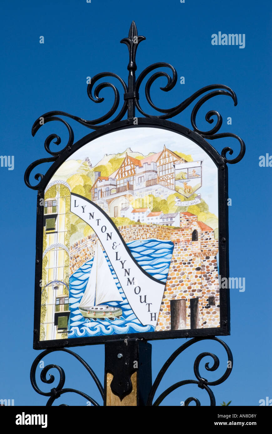 Lynton and Lynmouth pictorial sign - Stock Image