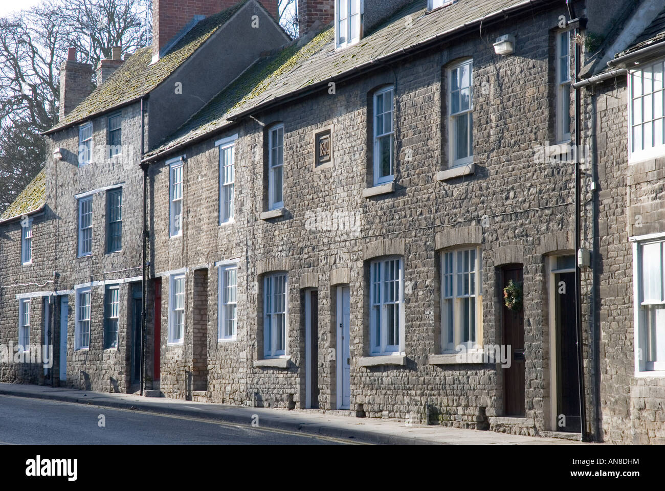 A terrace of old houses in North Street Oundle England - Stock Image