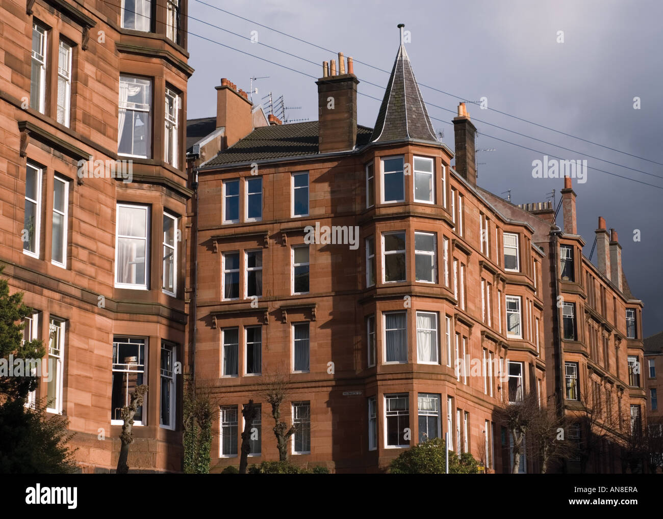 Typical red sandstone built tenement housing in affluent ...