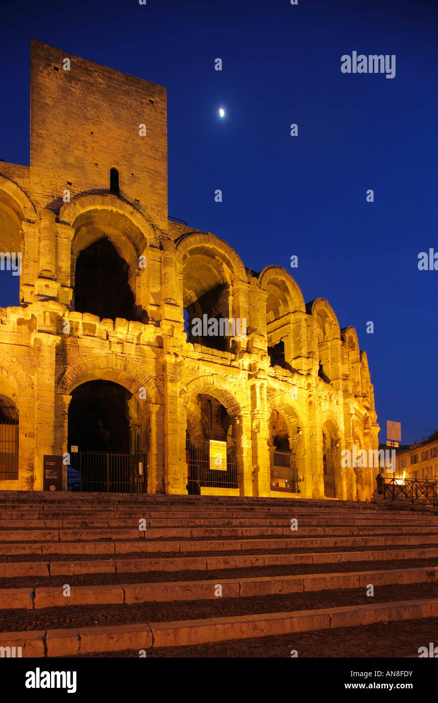 Roman Arena and Stairs in Arles - Stock Image