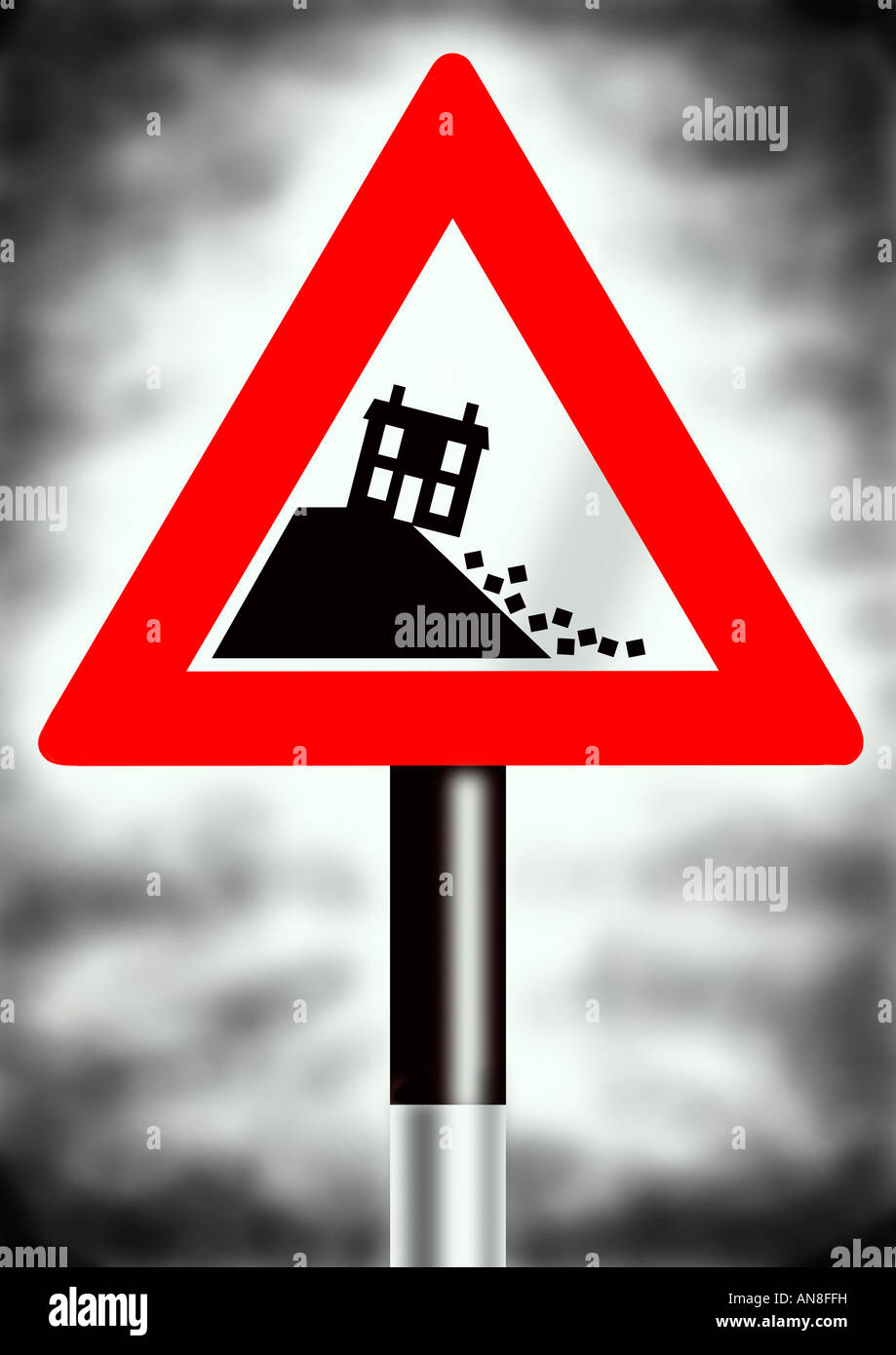 Warning Sign Of House Prices Crash Stock Photo 15446884 Alamy