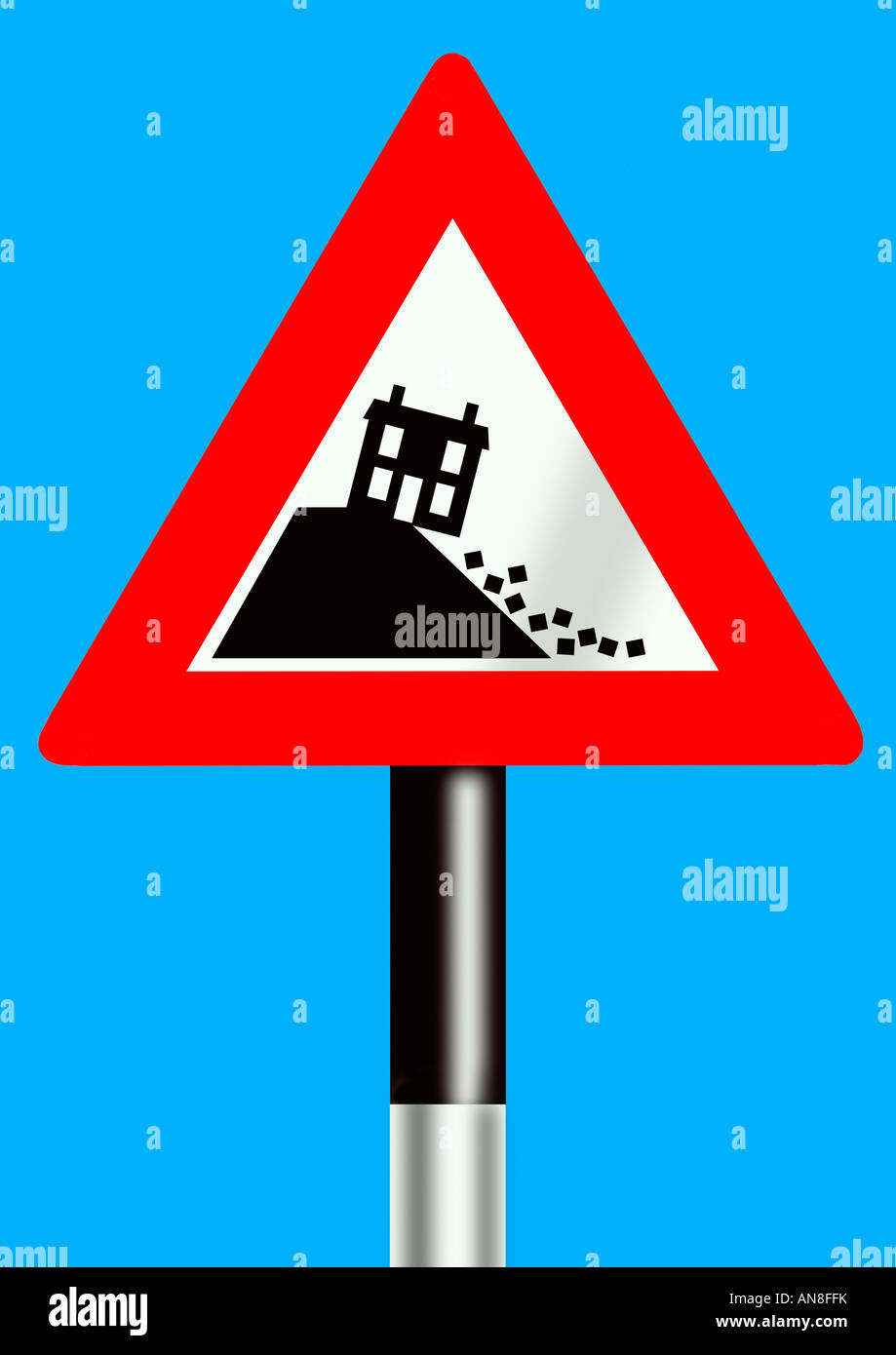 Warning Sign Of House Prices Crash Stock Photo 15446886 Alamy