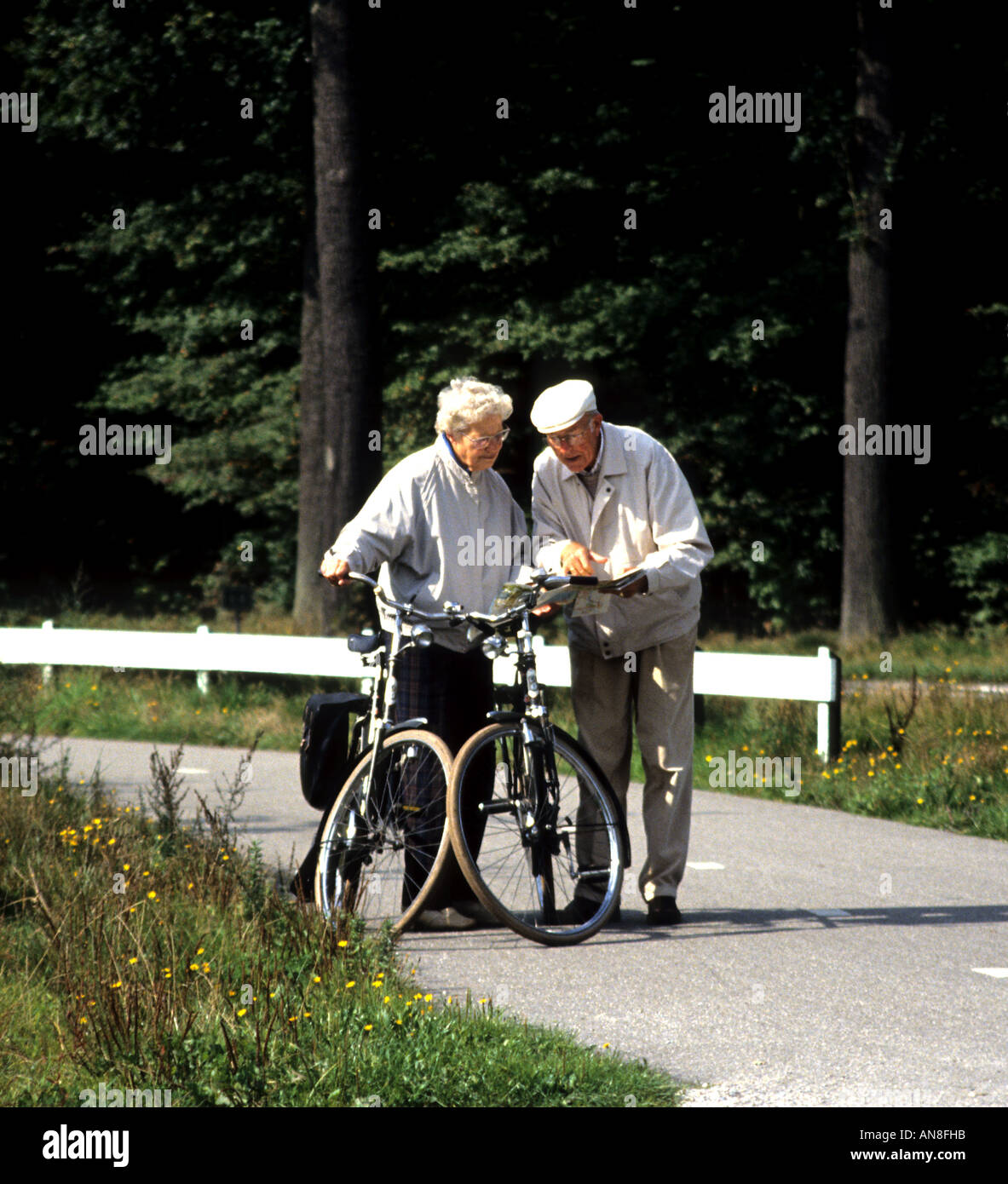 Old people reading map bicycle cycle bike biking cycling cyclists ...