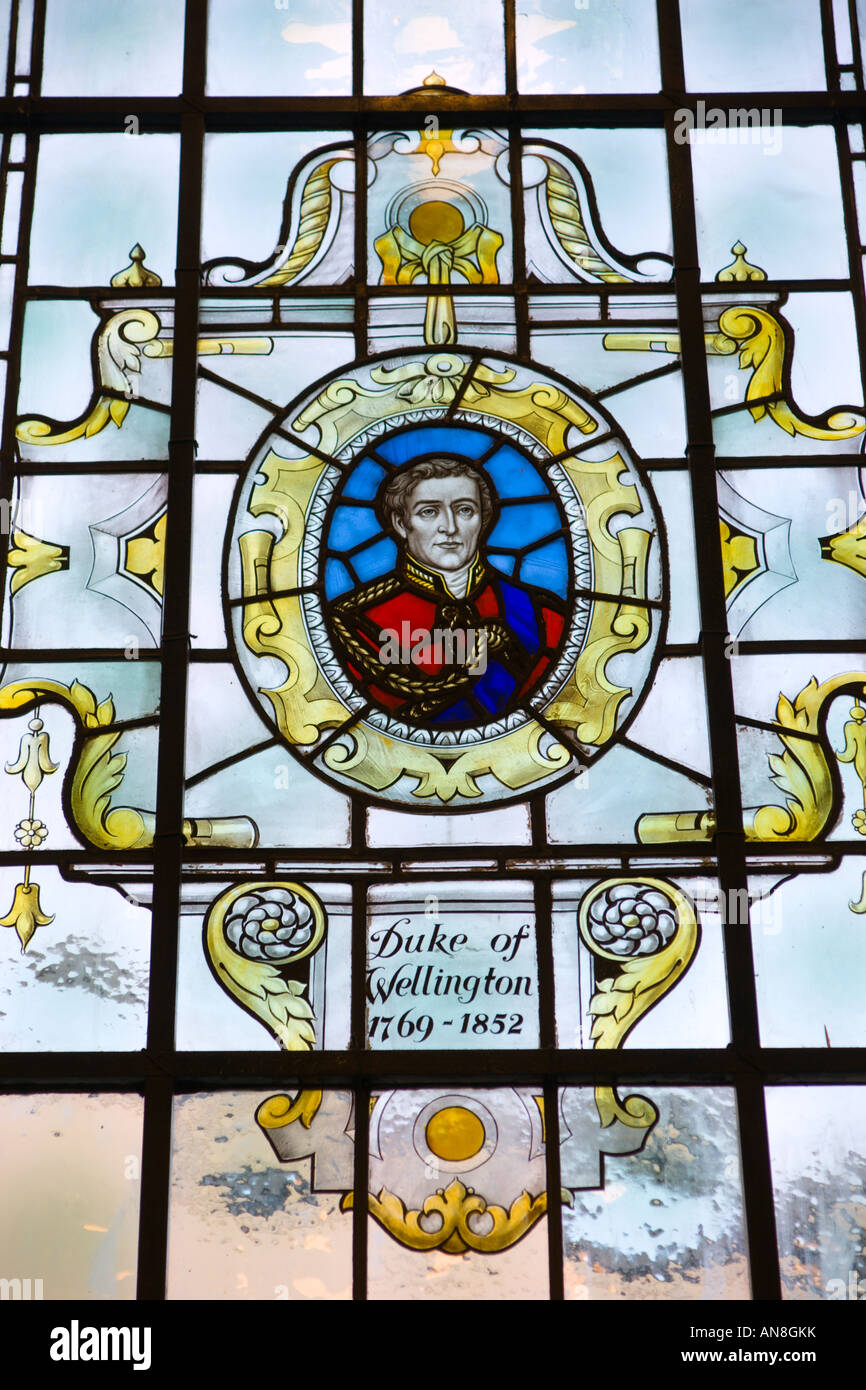 Stained glass window of the Duke of Wellington in the Royal Hotel Leamington Spa UK - Stock Image
