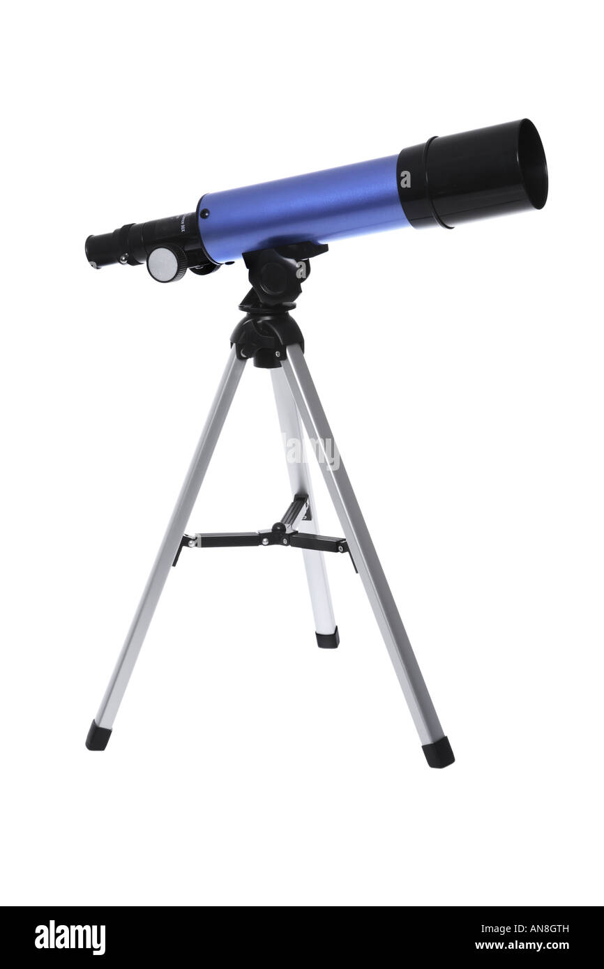 Telescope cut out on white background - Stock Image