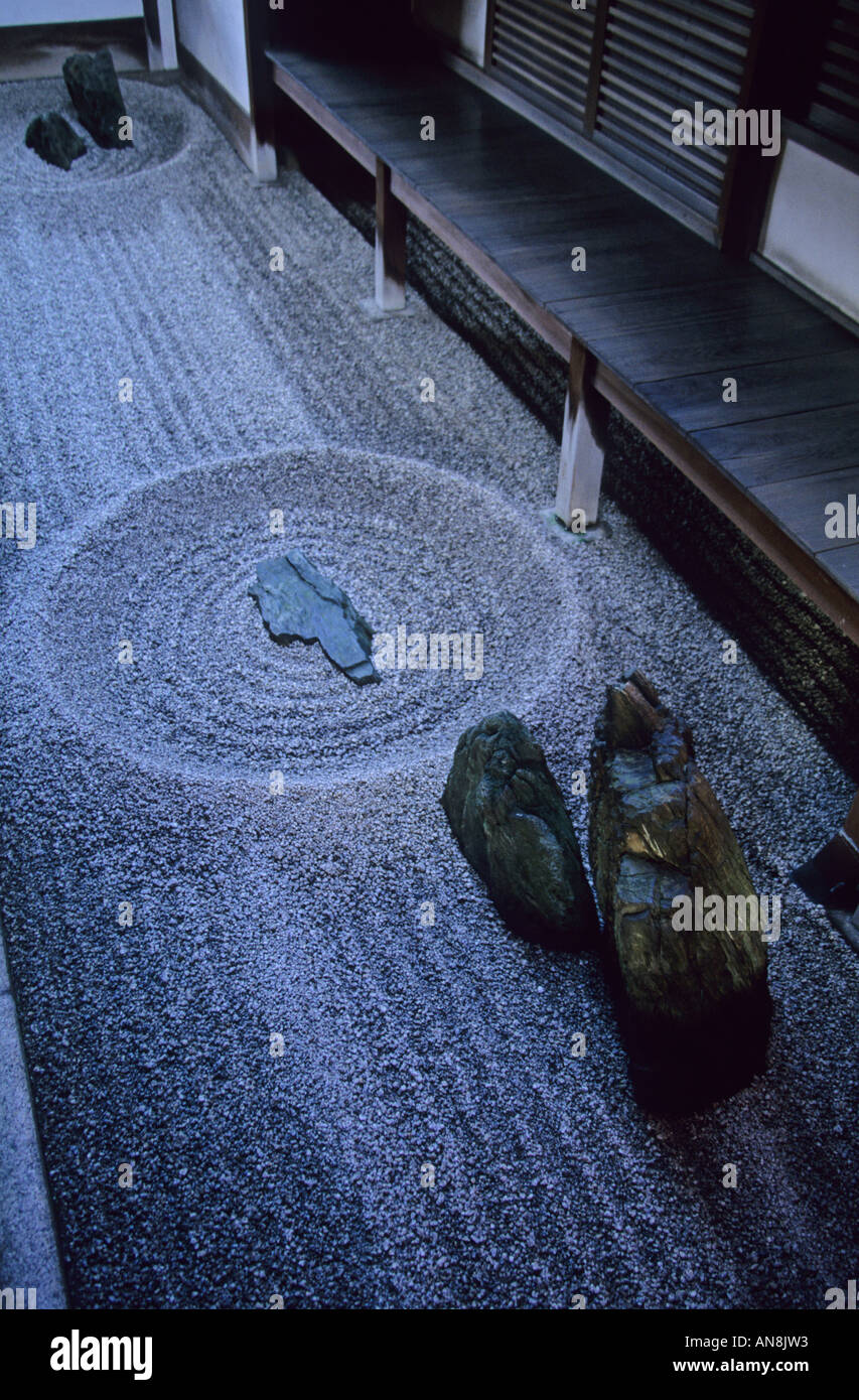 The Daisen-in rock garden at Daitokuji Temple in Kyoto Japan Asia - Stock Image