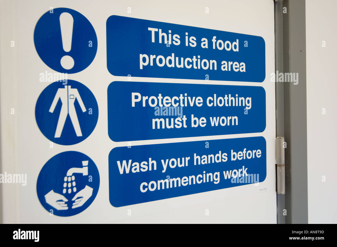 food production area warning signs - Stock Image
