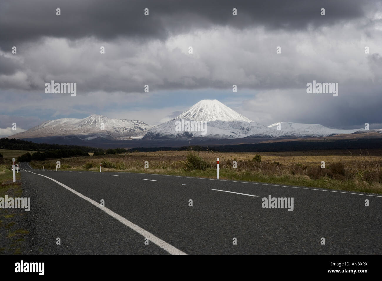 View of a snow covered Mount Ngauruhoe volcano taken from the Desert Road, New Zealand Stock Photo