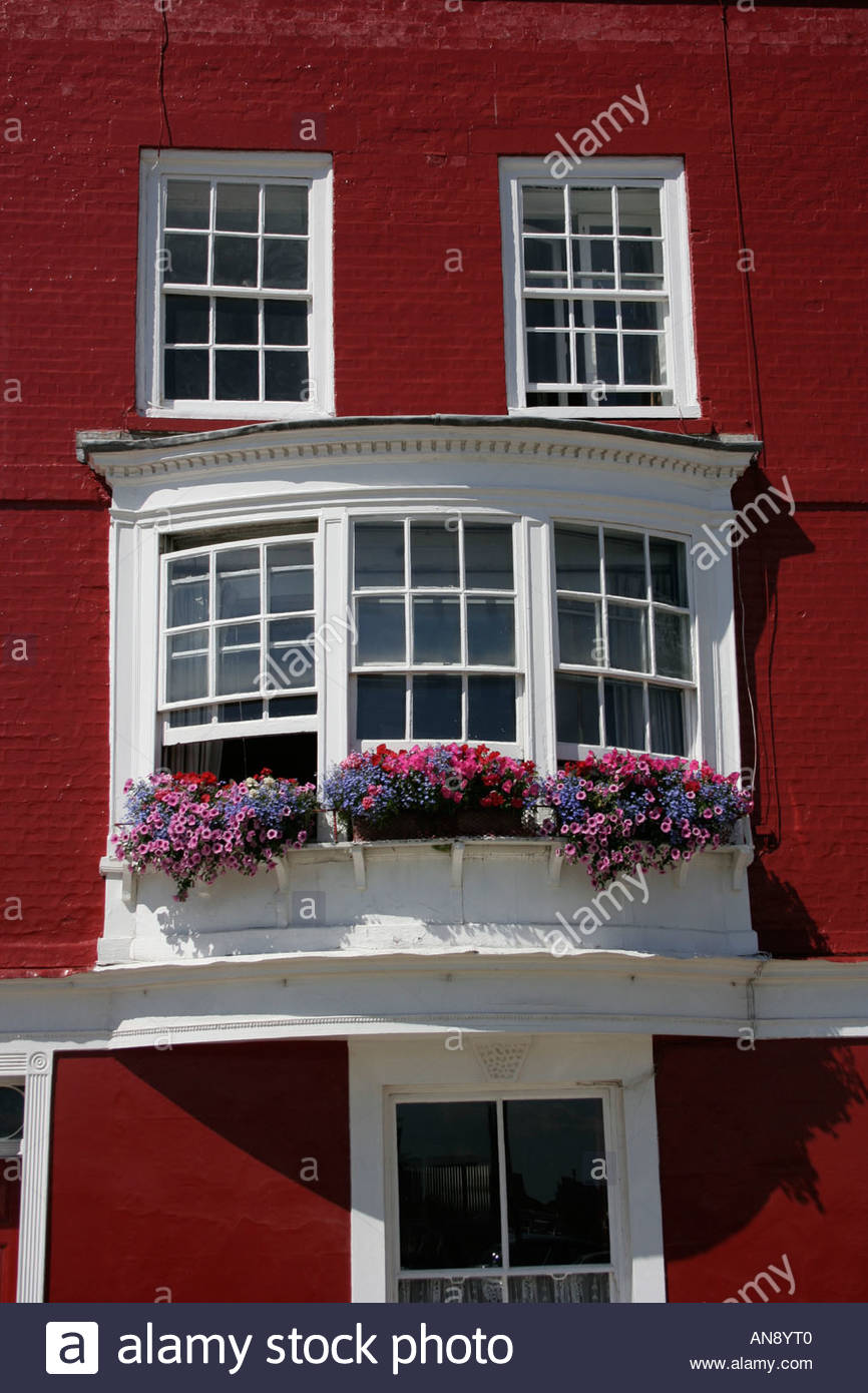 Old Curved Bay Windows Old Portsmouth Hampshire England - Stock Image