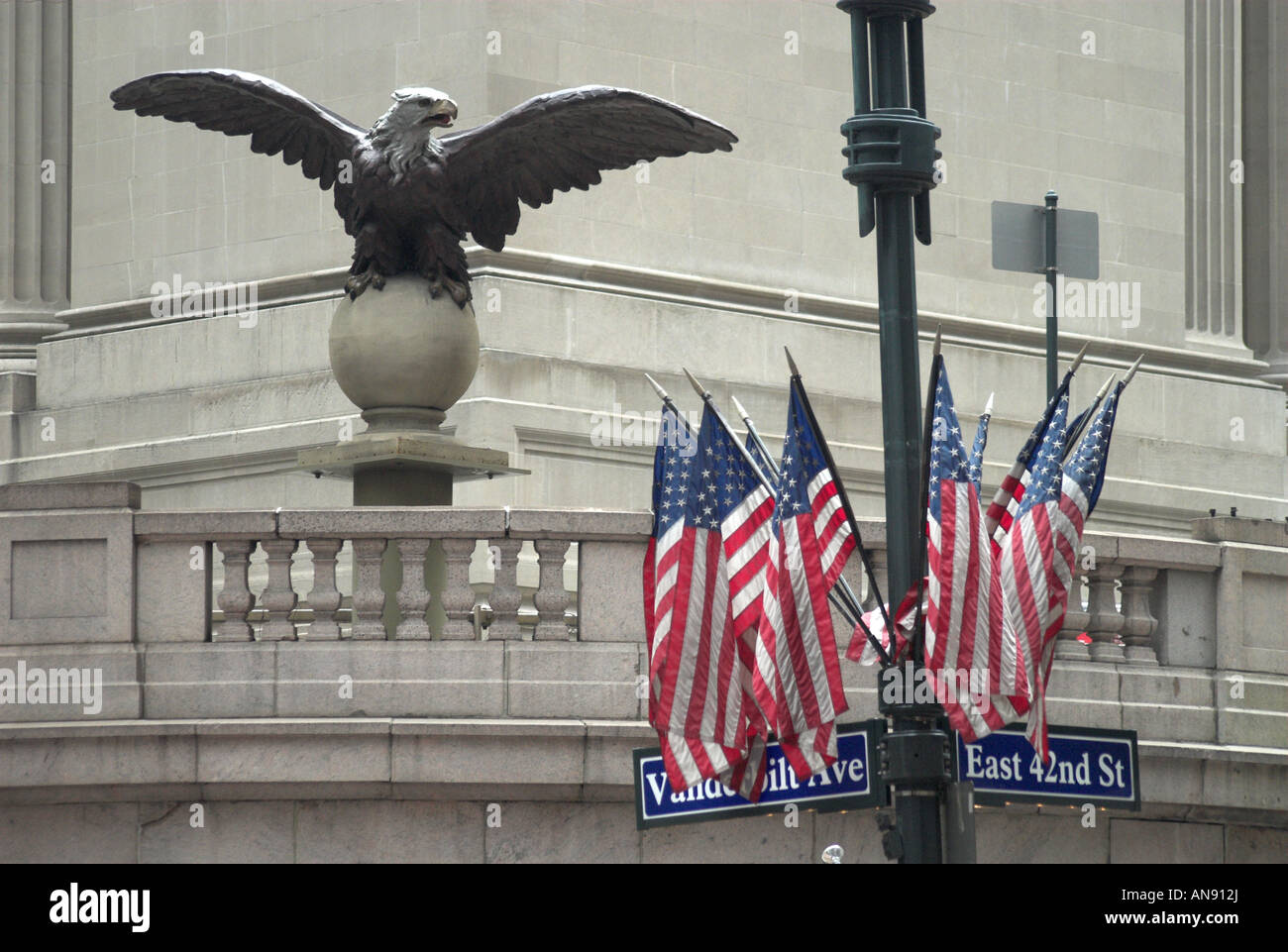 Statue of a Bald Eagle and the Stars and Stripes, Grand Central Station, New York City Stock Photo