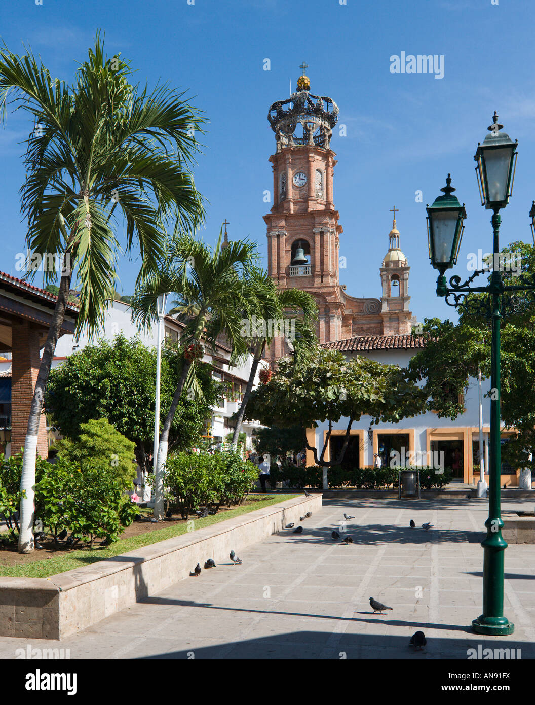 Cathedral of Our Lady of Guadalupe from Main Square (Plaza Principal), Old Town, Puerto Vallarta, Jalisco, Mexico - Stock Image