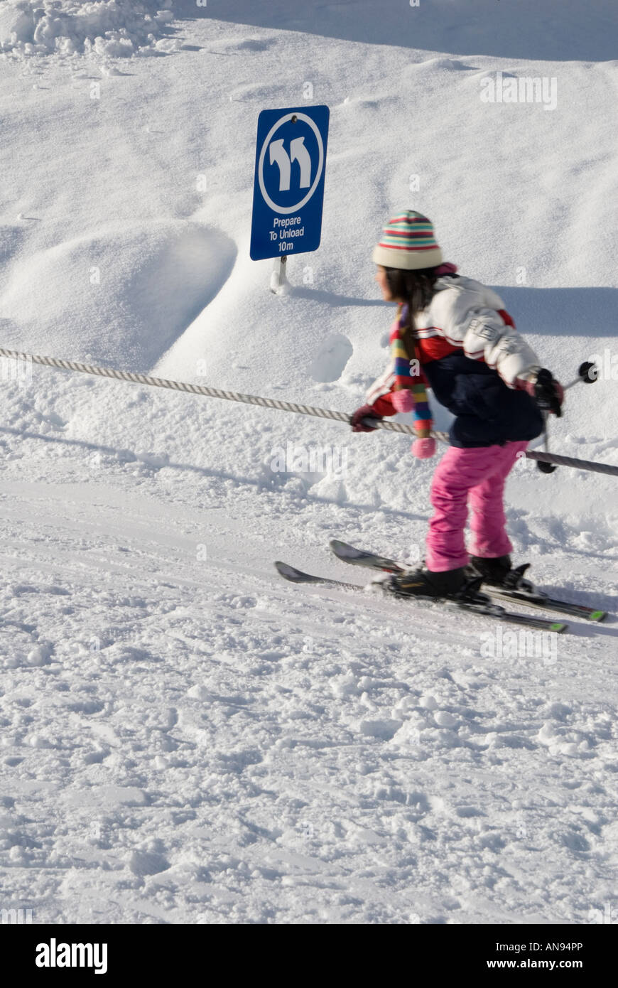 Using Ski Rope Stock Photos Images Alamy Tow Harness Young Girl At Resort Image