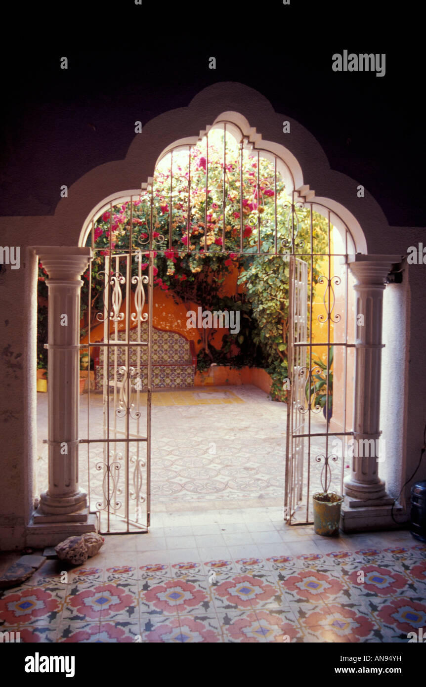 Moorish-style doorway in a colonial mansion in the city of Campeche, Mexico - Stock Image