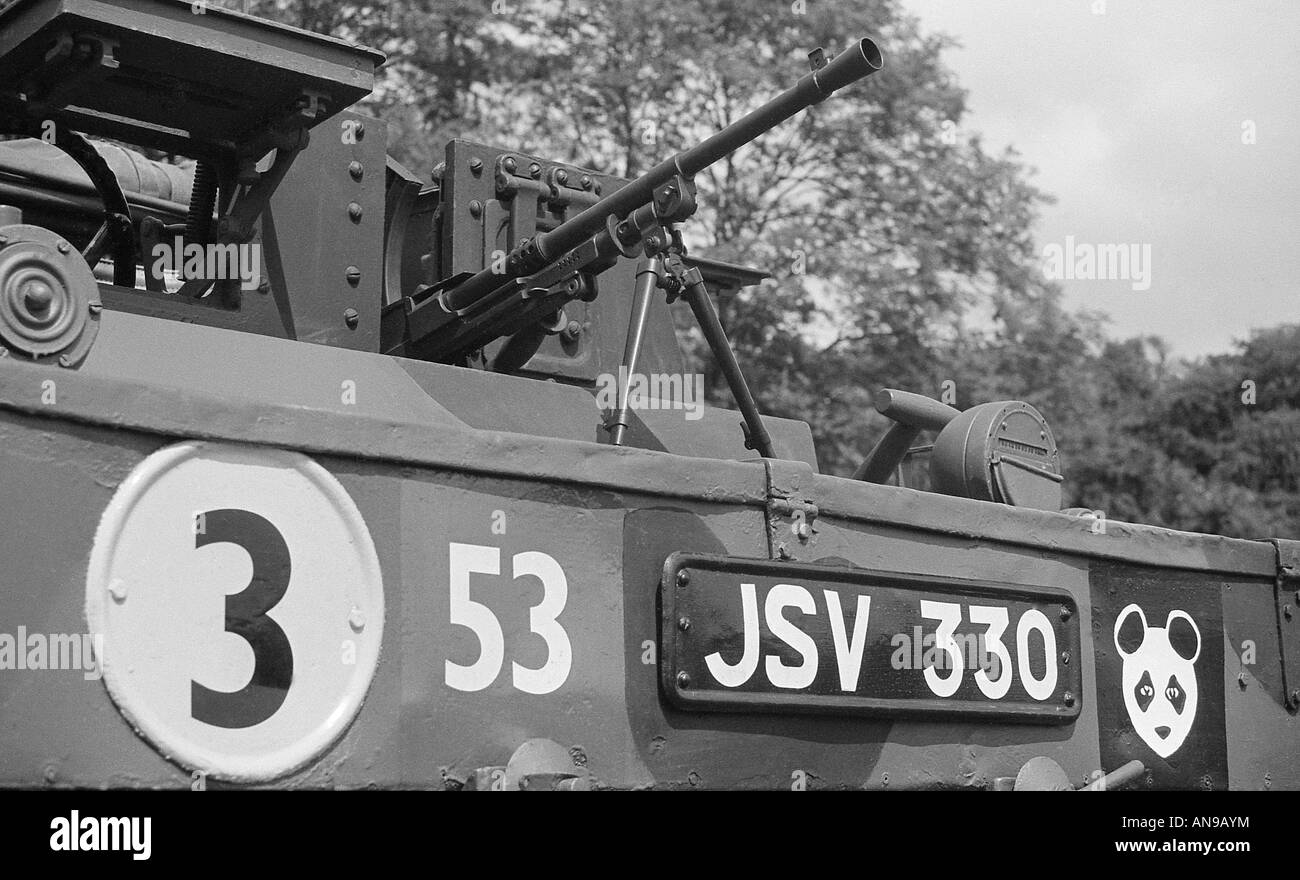 Close shot of front of British Army world war 2 Bren gun carrier with gun in place. - Stock Image