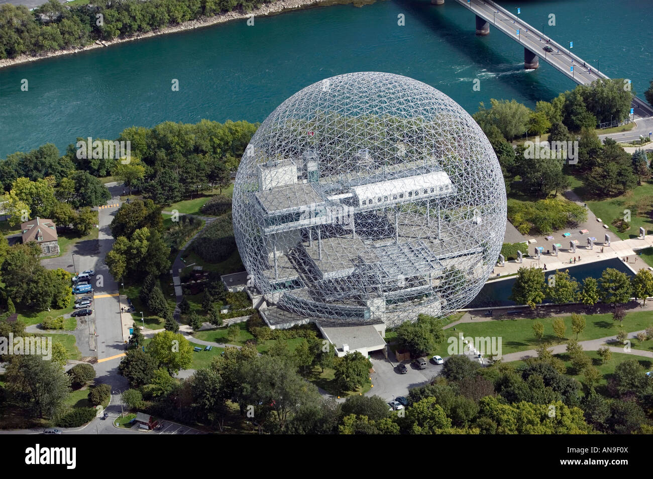 aerial view above Biosphère geodesic dome Canadian environmental museum Montreal Quebec Canada - Stock Image