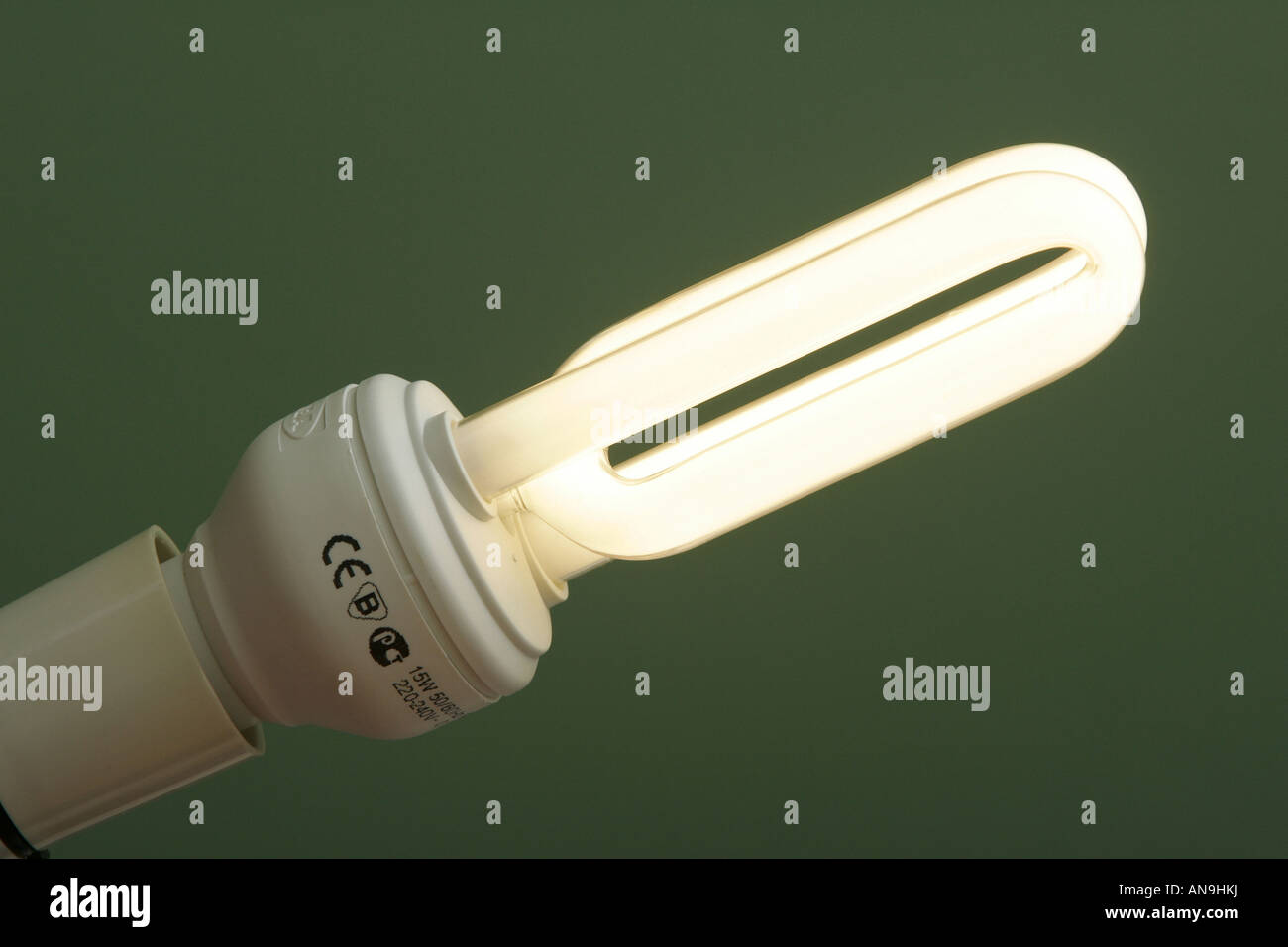 A CE MARKED ENERGY SAVER LIGHT BULB PICTURE BY GARY DOAK - Stock Image