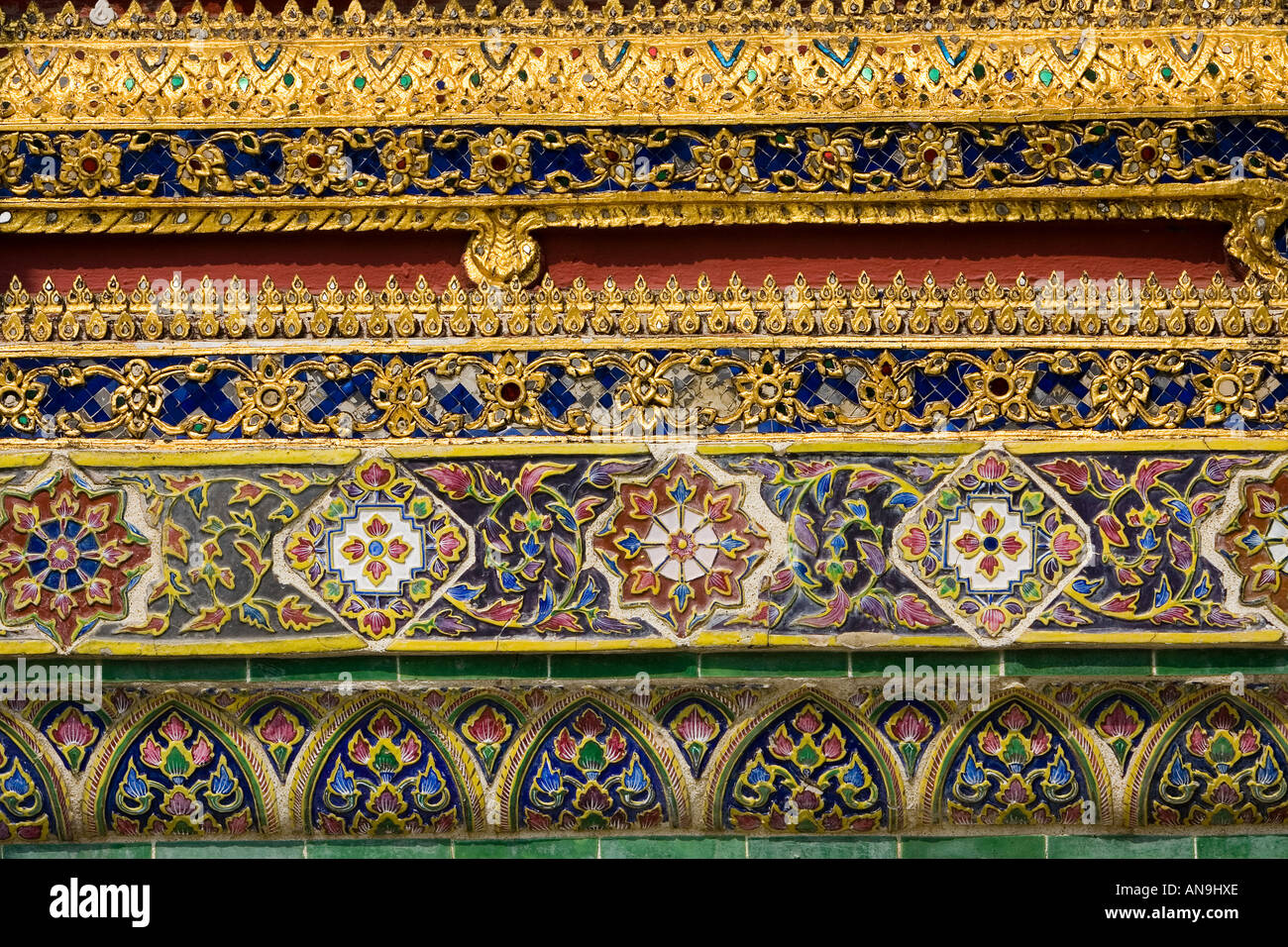 Decorative tiles within The Grand Palace and Temple Complex Bangkok Thailand - Stock Image