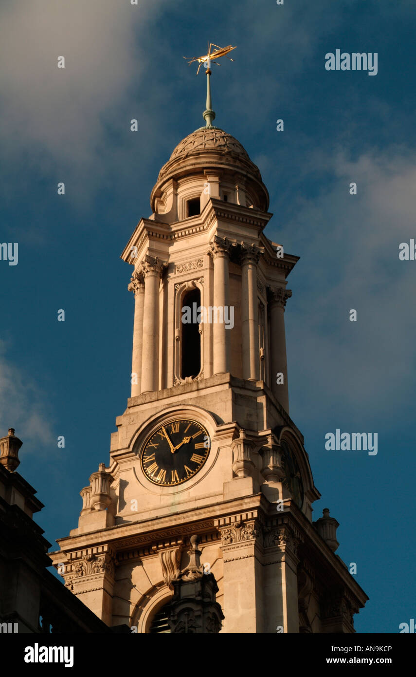 The clock tower of the Royal Exchange, London - Stock Image