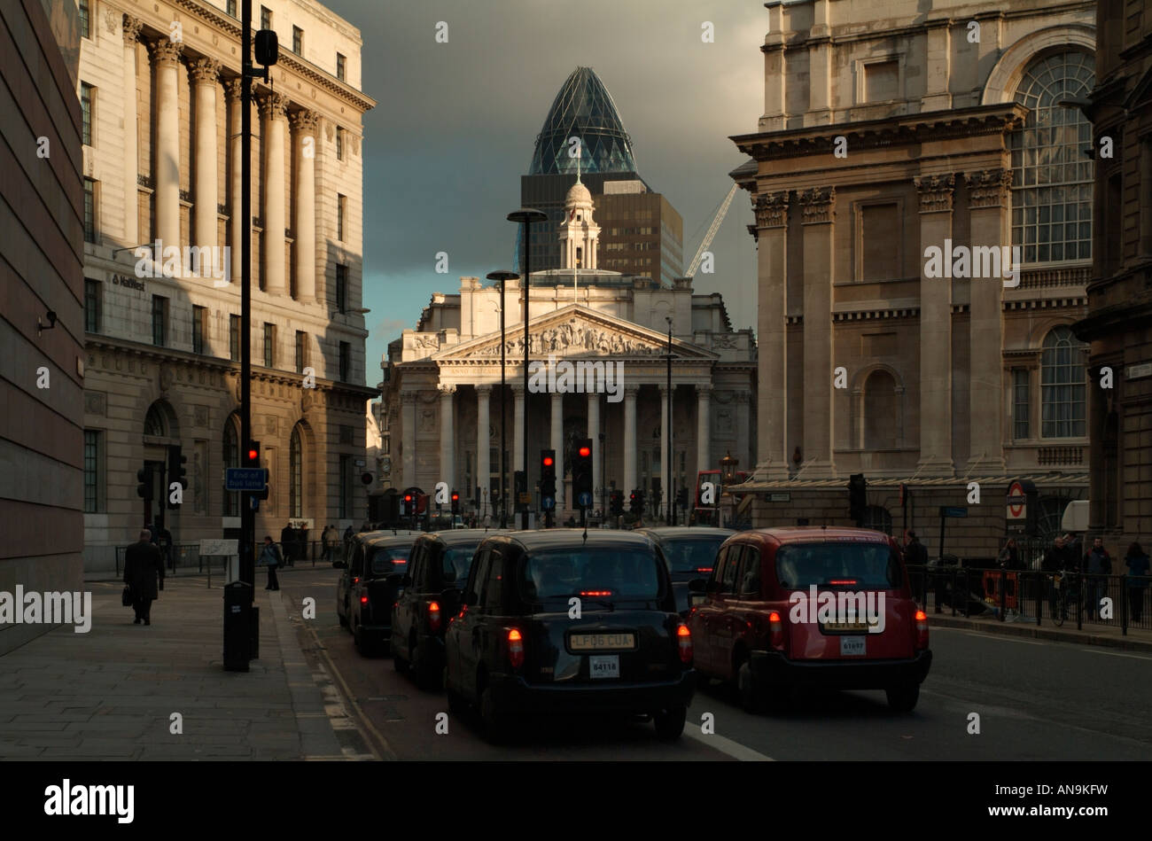 The Royal Exchange from the east end of Queen Victoria Street, London - Stock Image