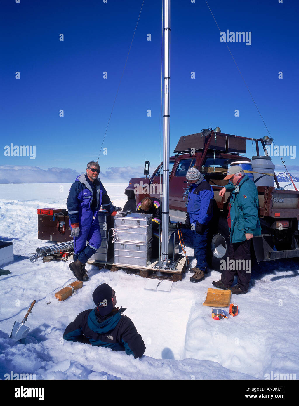 Scientist taking glacial measurements Langjokull Ice cap, Iceland - Stock Image