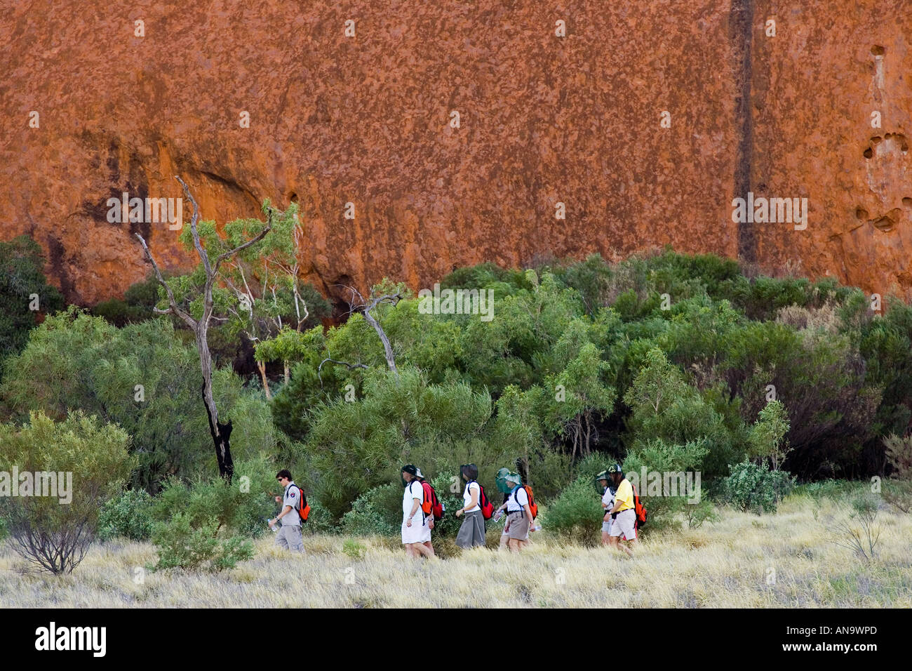 Tourists at the base of Ayers Rock Uluru Red Centre Australia Stock Photo