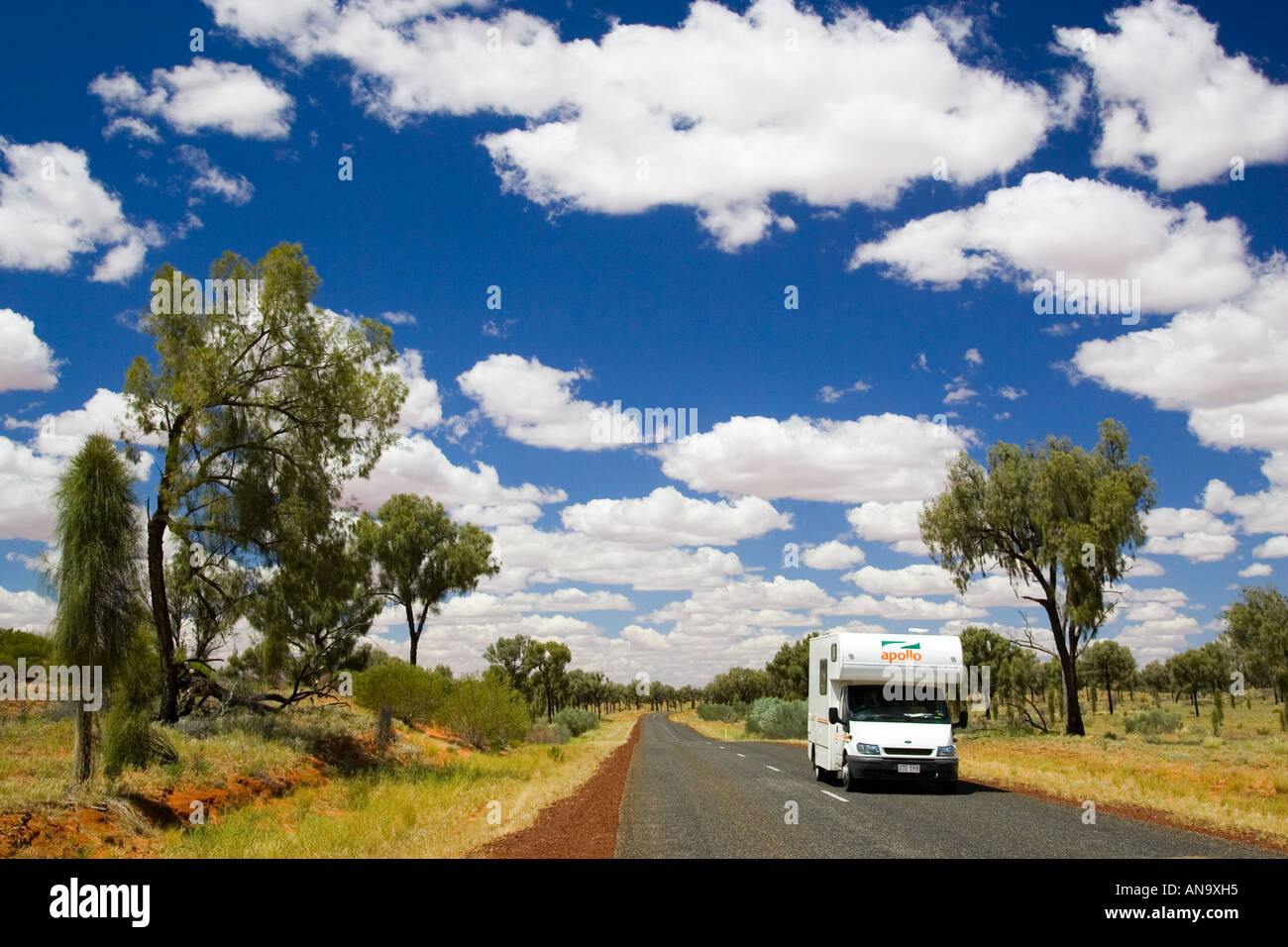 Motorhome travels road in the Red Centre Northern Territory Australia - Stock Image