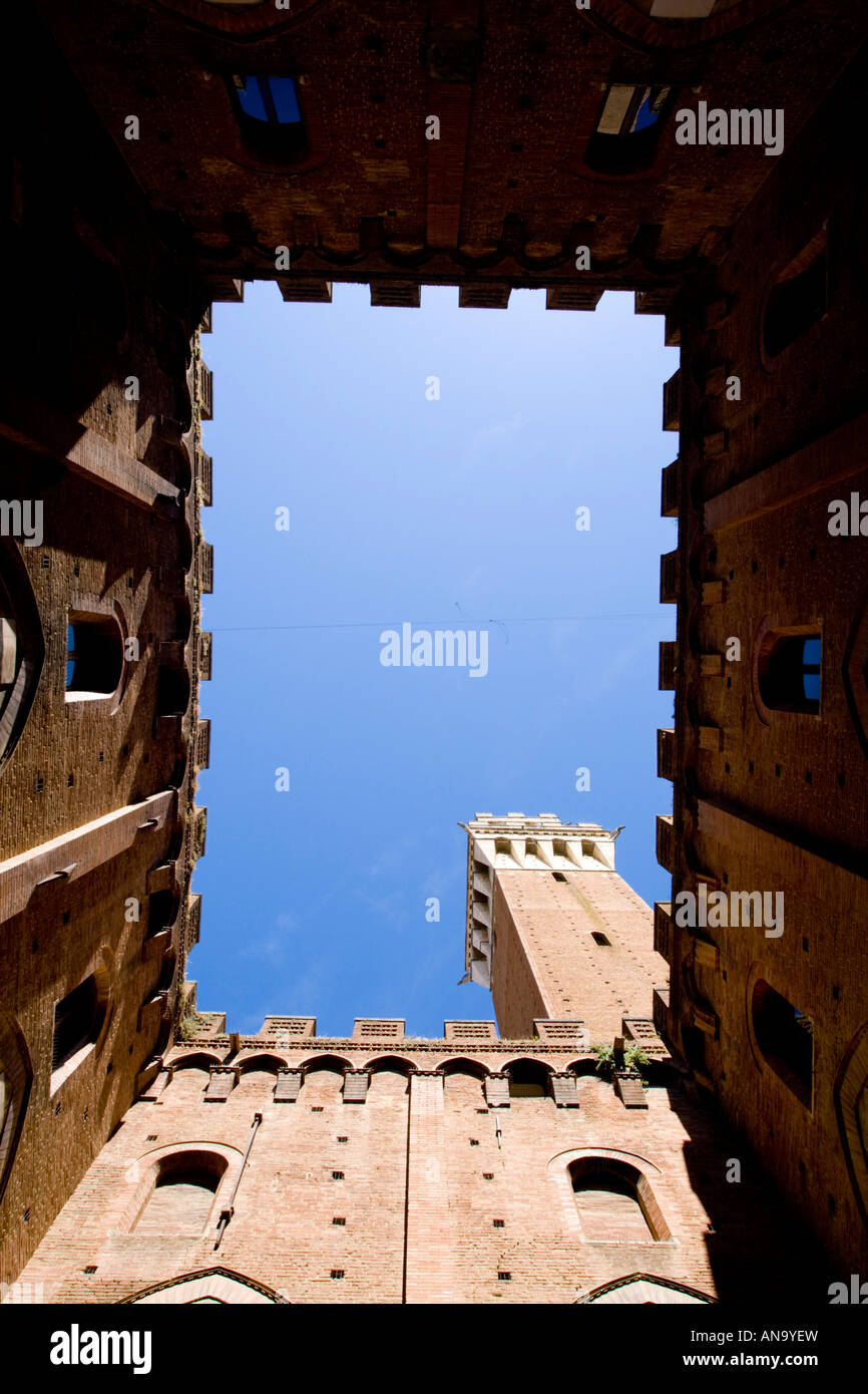 Torre del Mangia from inside Palazzo Pubblico Siena Italy - Stock Image