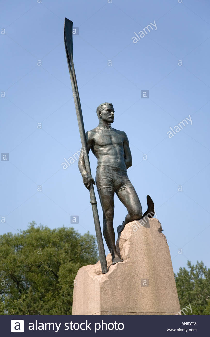 Edward Ned Hanlon statue of famous Toronto sculler at Hanlon s Point in Toronto Islands Park in Toronto Ontario Canada - Stock Image