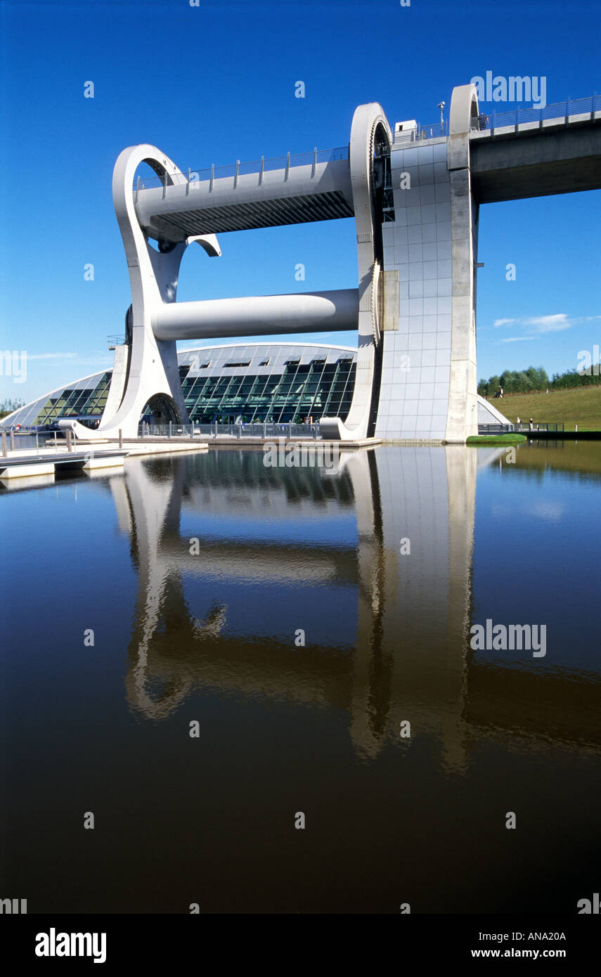 Falkirk Wheel a rotating boat lift joining Forth and Clyde canal with the Union canal - Stock Image