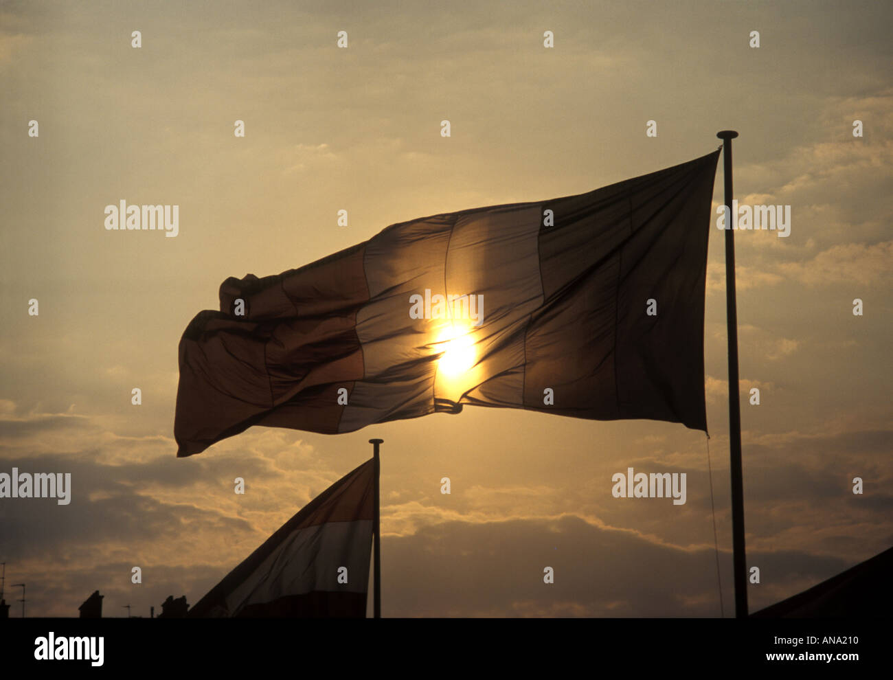 flag with sun behind it - Stock Image