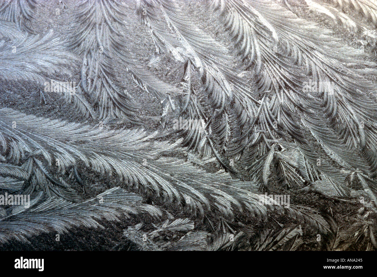 ice crystals on car windscreen - Stock Image