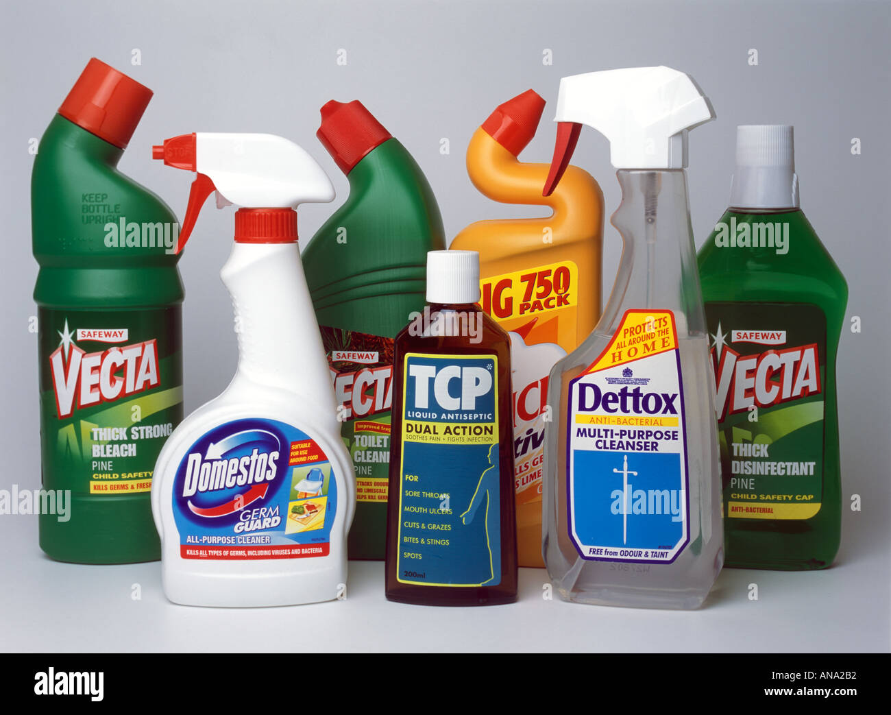 a selection of household cleaning materials and disinfectant typically used in kitchen and bathroom - Stock Image