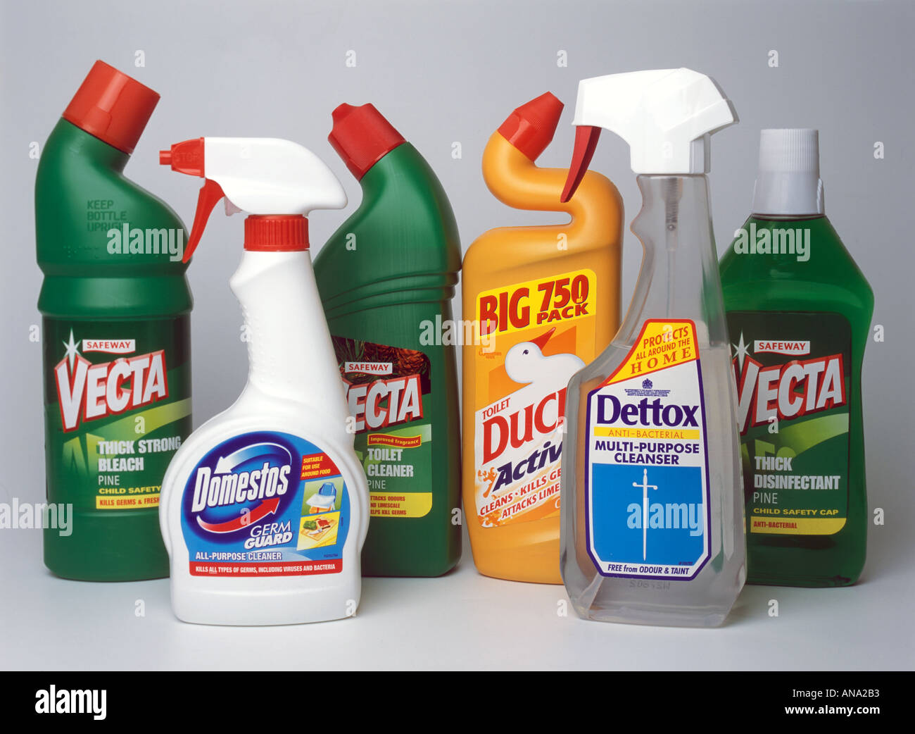 a selection of household cleaning materials and disinfectant - Stock Image