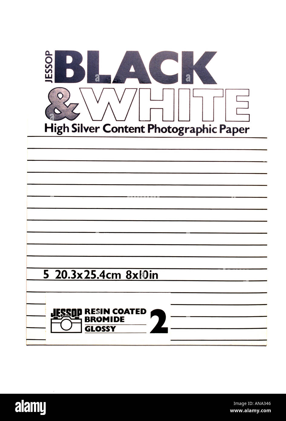 a packet of black and white photographic paper containing silver - Stock Image