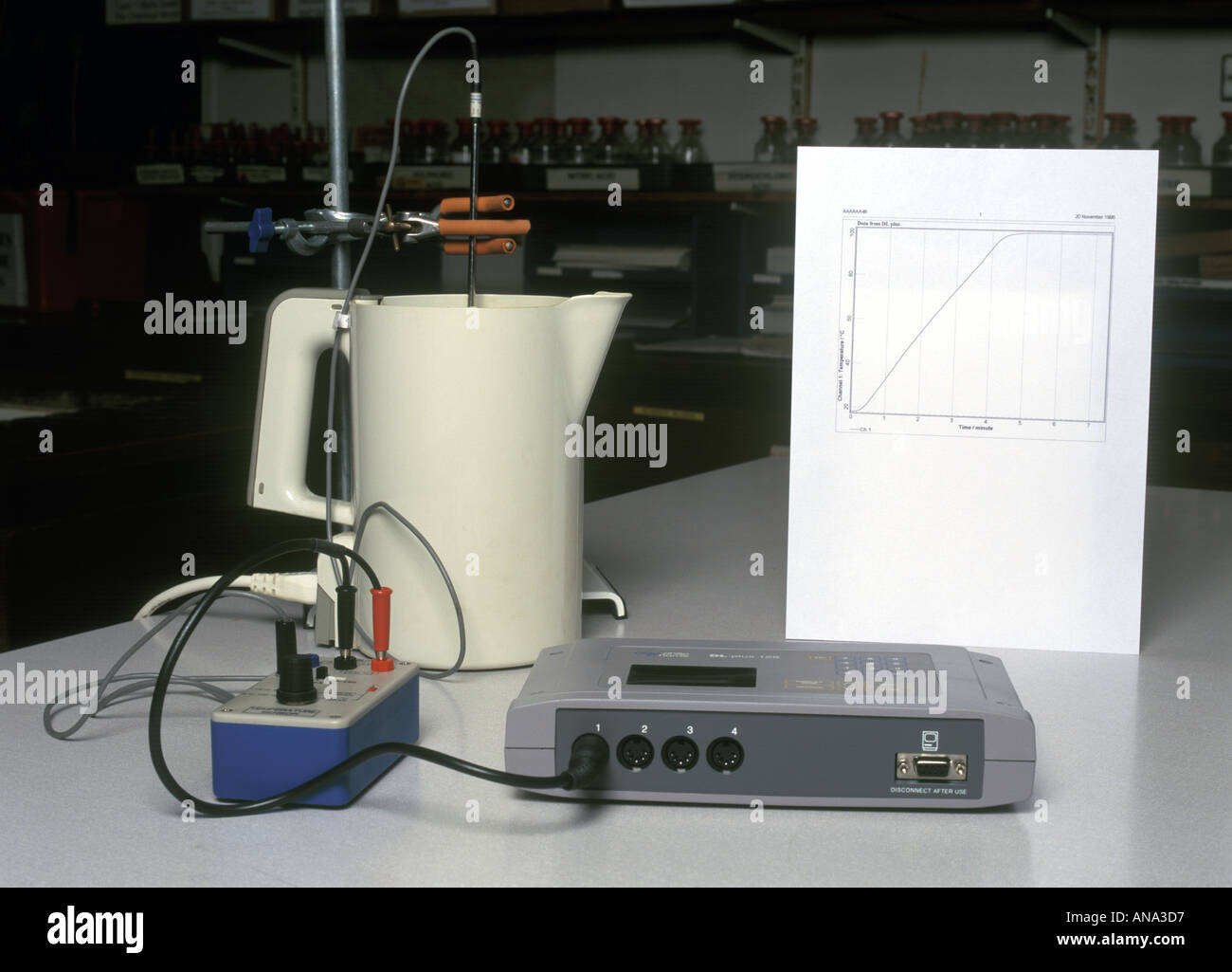 a temperature probe and a datalogger are used to monitor temperature change with time as water in a kettle is heated to boiling - Stock Image