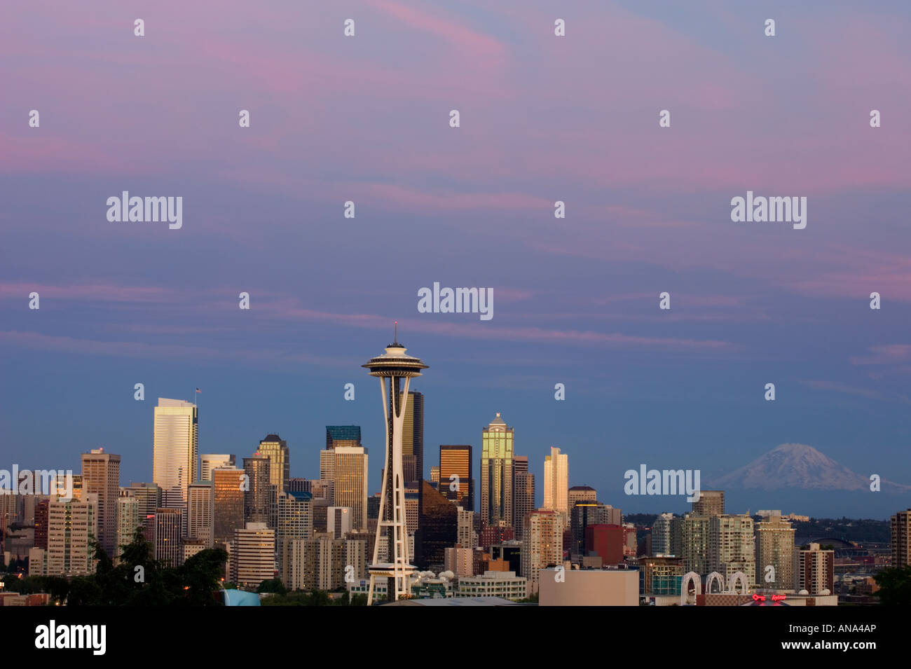 Sunset over Seattle - Stock Image