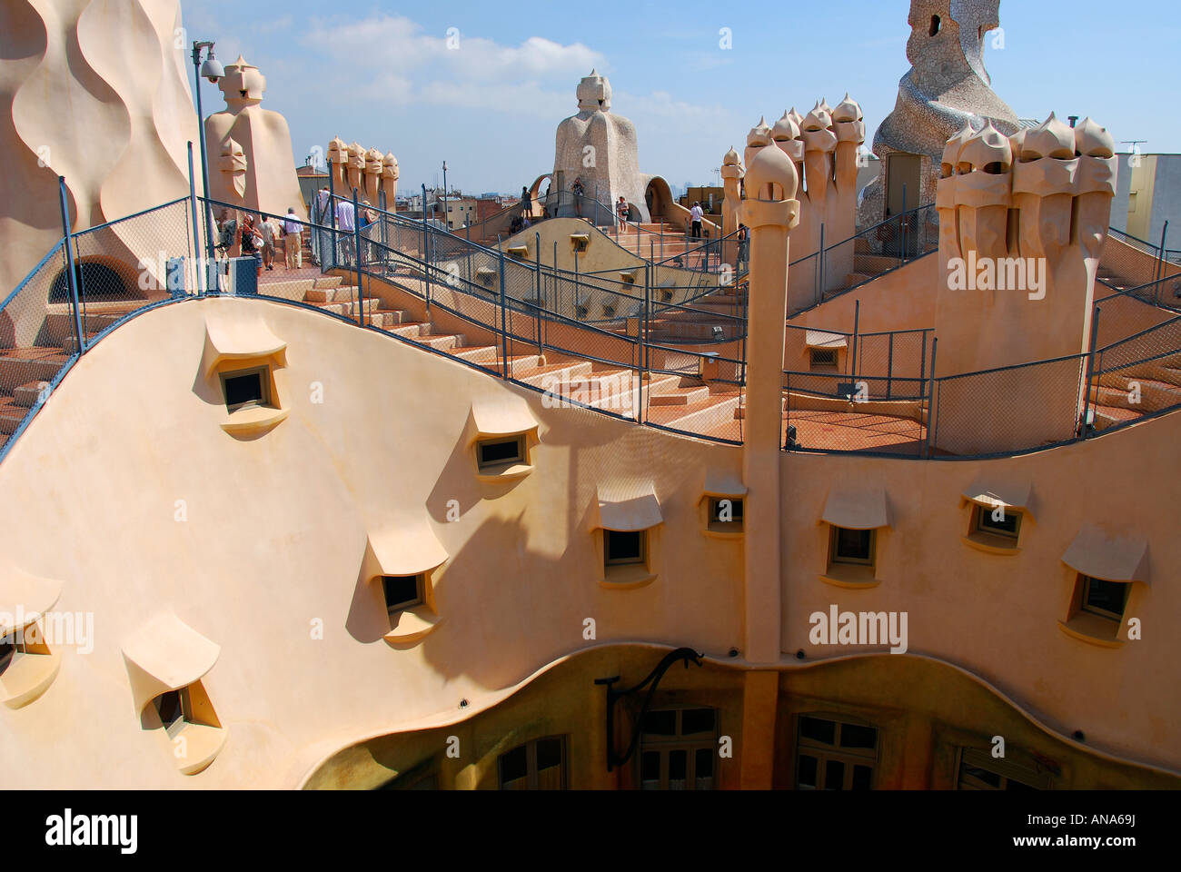 Rooftop walkways and chimneys of La Casa Mila, designed by Gaudi, La