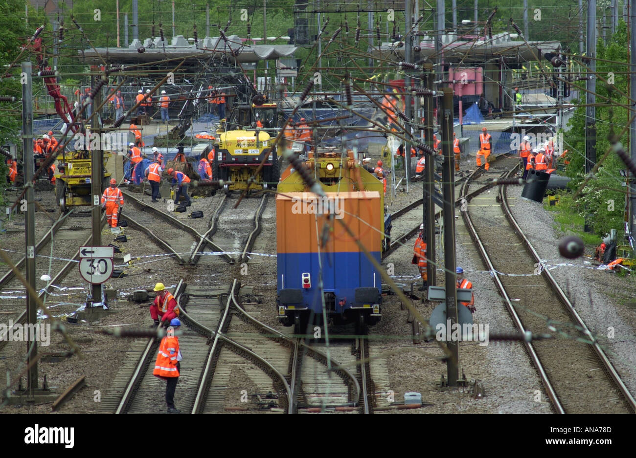 Engineers work to mend the main line track after the Potters Bar rail crash UK - Stock Image