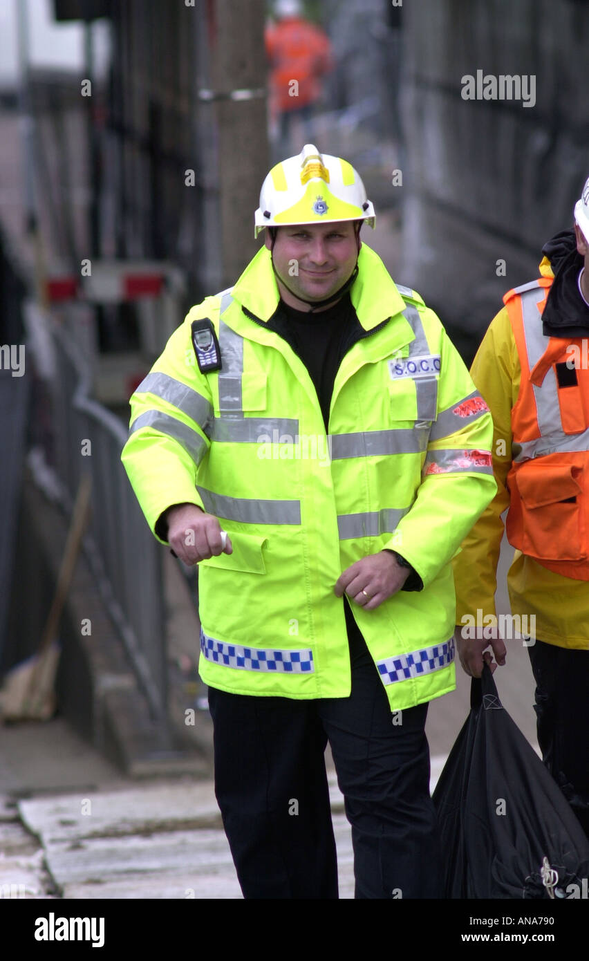 Scenes of crime officer at the Potters Bar train crash site UK - Stock Image