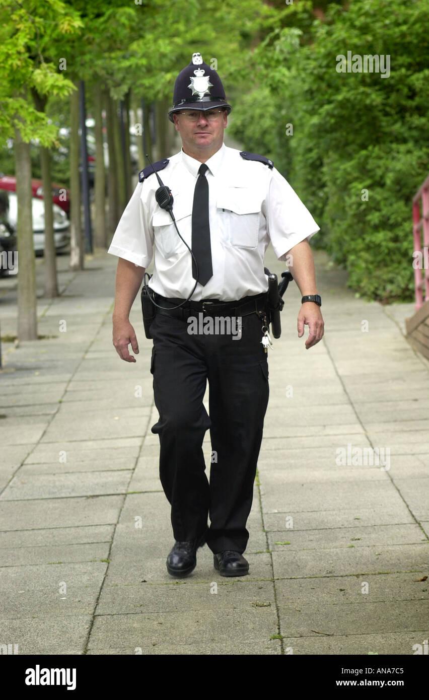 Thames valley police officer outside the Milton Keynes station UK - Stock Image
